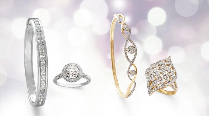 Schmuckstücke mit verschiedenen Diamant-Qualitäten von VVS bis Si