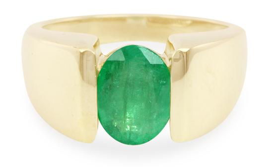 Polierter Smaragd-Goldring