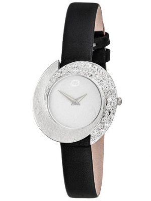 ARS Damen Armbanduhr 750 Gold Weißgold mit 34 Diamanten schwarzes Lederband