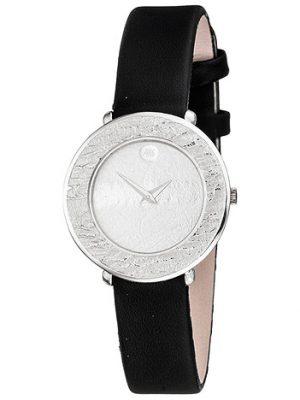 ARS Damen Armbanduhr Quarz Analog 750 Gold Weißgold schwarzes Lederband