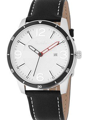 Cronenthal Armbanduhr mit Tabletten bzw. Pillen Fach, Leder schwarz
