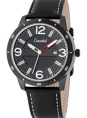 Cronenthal Armbanduhr mit Tabletten bzw. Pillen Fach. Leder schwarz