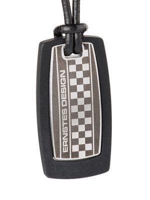 Ernstes Design Anhänger Edelstahl mattiert, silk wood schwarz, Lederband schwarz mit Bajonettverschluss