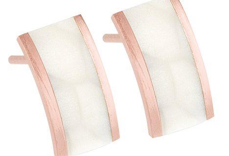Ernstes Design Ohrstecker, silk wood weiß, Rotgold beschichtet