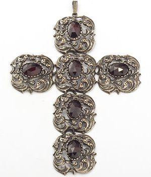 Goettgen Anhänger Granat Kreuz 925