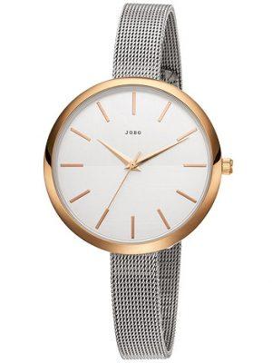 JOBO Damen Armbanduhr Quarz Analog Edelstahl vergoldet schmales Armband
