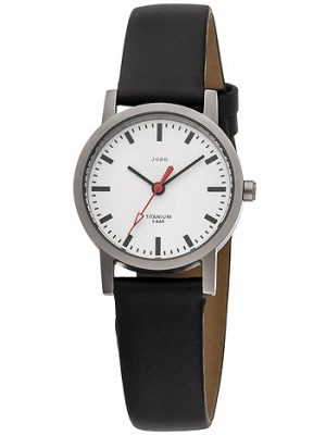JOBO Damen Armbanduhr Quarz Analog Titan Lederband schwarz