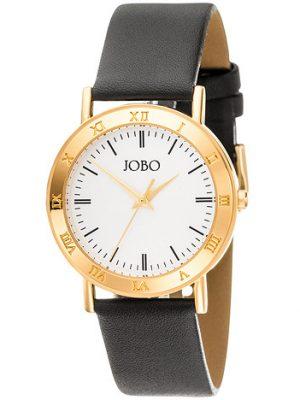 JOBO Herren Armbanduhr Quarz Analog gold vergoldet Lederarmband schwarz