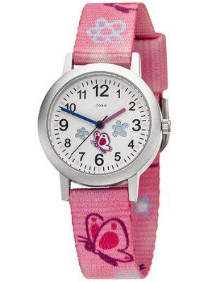 JOBO Kinder Armbanduhr Schmetterling pink rosa Quarz Analog Aluminium Kinderuhr