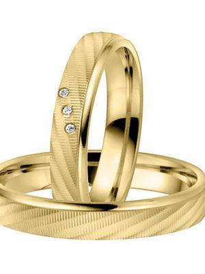 LOVE by Goettgen Trauringe Paar, Gelb 333 Gold, Eheringe, bei Damenring inkl. 3 Brillanten