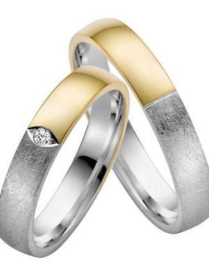 LOVE by Goettgen Trauringe Paar, Gelb/Weiss 333 Gold, Eheringe, bei Damenring inkl. 1 Brillant
