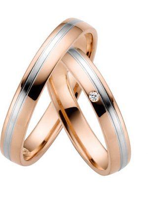 LOVE by Goettgen Trauringe Paar, Rosé/Weiss 333 Gold, Eheringe, bei Damenring inkl. 1 Brillant
