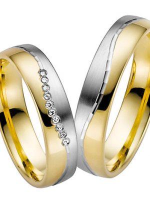 LOVE by Goettgen Trauringe Paar, Weiss/Gelb 333 Gold, Eheringe, bei Damenring inkl. 10 Brillanten