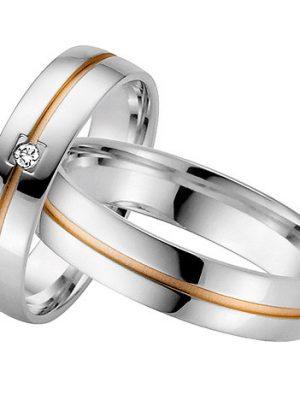 LOVE by Goettgen Trauringe Paar, Weiss/Rosé 333 Gold, Eheringe, bei Damenring inkl. 1 Brillant