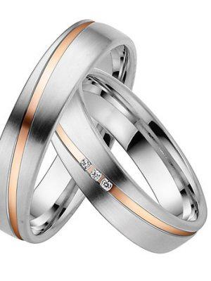 LOVE by Goettgen Trauringe Paar, Weiss/Rosé 333 Gold, Eheringe, bei Damenring inkl. 3 Brillanten