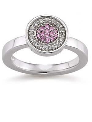 Laura Coon Ring 925 Silber Zirkonia Pink, 55 / 17,5