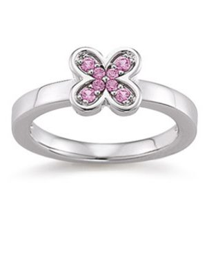 Laura Coon Ring 925 Silber Zirkonia Pink, 56 / 17,8