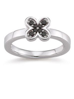 Laura Coon Ring 925 Silber Zirkonia Schwarz, 56 / 17,8