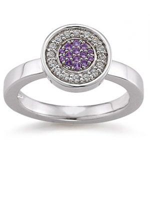 Laura Coon Ring 925 Silber Zirkonia violiett, 54 / 17,2