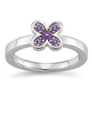 Laura Coon Ring 925 Silber Zirkonia violiett, 56 / 17,8
