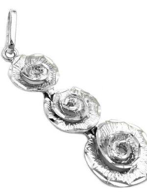 SIGO Anhänger 3 Blumen rhodiniert, Silber 925