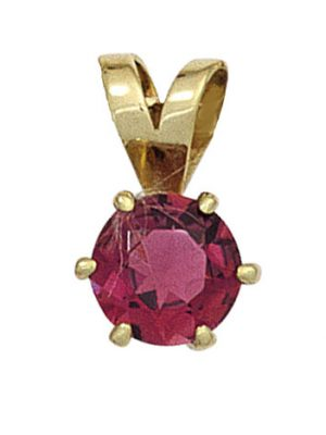 SIGO Anhänger 585 Gold Gelbgold 1 rosa Turmalin Goldanhänger