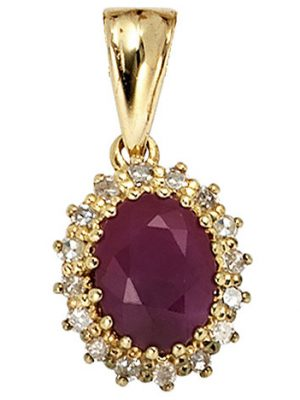 SIGO Anhänger 585 Gold Gelbgold 16 Diamanten 0,16ct. 1 Rubin rot Goldanhänger