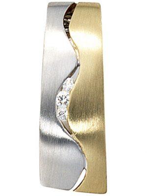 SIGO Anhänger 585 Gold Gelbgold Weißgold bicolor matt 3 Diamanten Brillanten