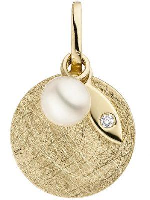 SIGO Anhänger 585 Gold Gelbgold eismatt 1 Süßwasser Perle 1 Diamant Brillant