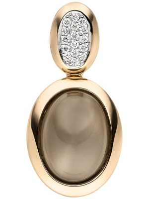 SIGO Anhänger 585 Gold Rotgold 1 Mondstein Cabochon 16 Diamanten Brillanten