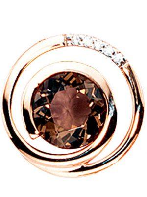 SIGO Anhänger 585 Gold Rotgold 5 Diamanten Brillanten 0,035ct. 1 Rauchquarz braun