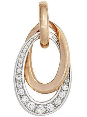 SIGO Anhänger 585 Gold Rotgold Weißgold bicolor 27 Diamanten Brillanten 0,28ct.