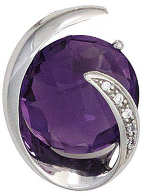 SIGO Anhänger 585 Gold Weißgold 1 Amethyst lila violett 5 Diamanten Brillanten 0,02ct