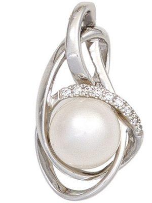 SIGO Anhänger 585 Gold Weißgold 1 Süßwasser Perle 9 Diamanten Perlenanhänger
