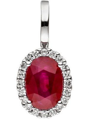 SIGO Anhänger 585 Gold Weißgold 20 Diamanten Brillanten 1 Rubin rot Rubinanhänger