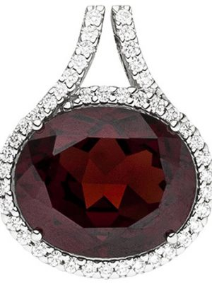 SIGO Anhänger 585 Gold Weißgold 44 Diamanten Brillanten 1 Granat rot Granatanhänger