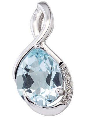 SIGO Anhänger 585 Gold Weißgold 5 Diamanten Brillanten 1 Blautopas blau Goldanhänger