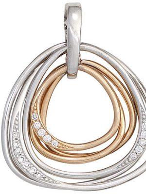 SIGO Anhänger 585 Gold Weißgold Rotgold bicolor 17 Diamanten Brillanten