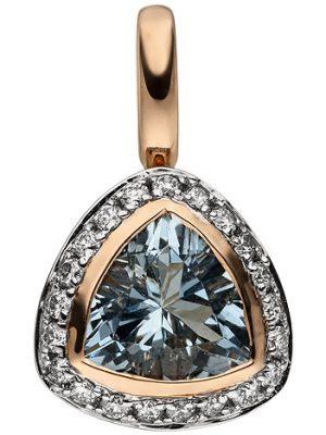 SIGO Anhänger 585 Rotgold 21 Diamanten Brillanten 1 Aquamarin hellblau blau