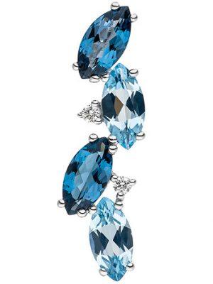 SIGO Anhänger 585 Weißgold 2 Diamanten Brillanten 4 Blautopase hellblau blau