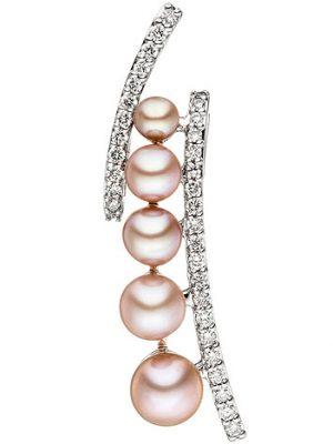 SIGO Anhänger 585 Weißgold 5 rosa Süßwasser Perlen 33 Diamanten Brillanten