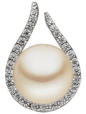 SIGO Anhänger 925 Sterling Silber 1 Süßwasser Perle 29 Zirkonia Perlenanhänger