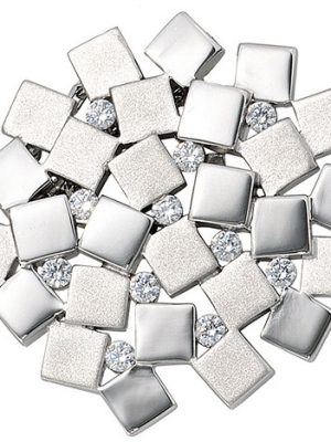 SIGO Anhänger 925 Sterling Silber rhodiniert mattiert 11 Zirkonia