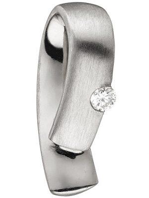SIGO Anhänger 950 Platin teil matt 1 Diamant Brillant 0,06ct. Platinanhänger
