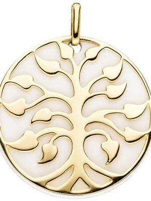 SIGO Anhänger Baum 925 Sterling Silber gold vergoldet 1 Achat-Imitation