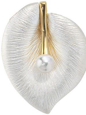 SIGO Anhänger Blatt 925 Silber bicolor mattiert 1 Süßwasser Perle Perlenanhänger