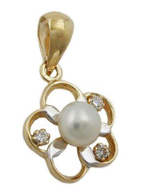 SIGO Anhänger Blume, Perle Zirkonia, Gold 375