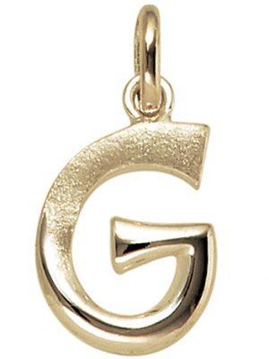 SIGO Anhänger Buchstabe G 375 Gold Gelbgold Buchstabenanhänger