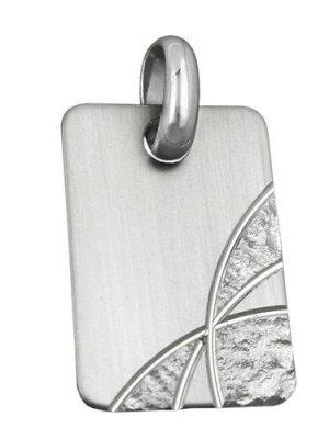 SIGO Anhänger, Gravurplatte, matt-diamantiert, rhodiniert, Silber 925