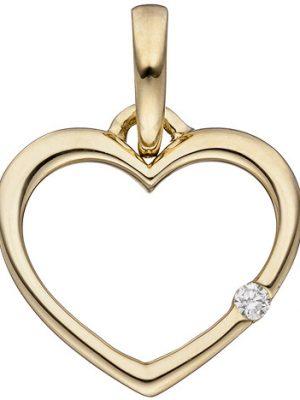 SIGO Anhänger Herz 333 Gold Gelbgold 1 Diamant Brillant Herzanhänger Goldherz